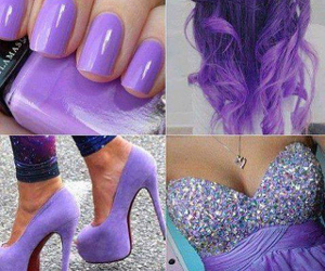 purple, hair, and dress image