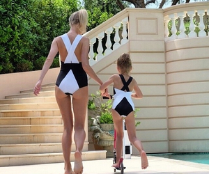 black, black and white, and doughter image