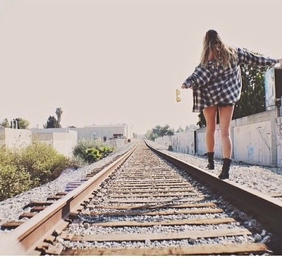 girl, summer, and train image