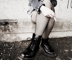 black and white, cigarette, and boots image