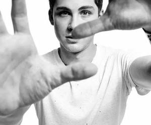 logan lerman, black and white, and boy image