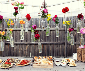 flowers, food, and bottle image