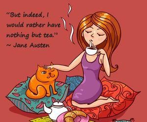 art, jane austen, and tea image