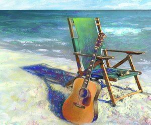 beach, guitar, and cool image