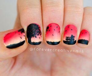nails, nail art, and tree image
