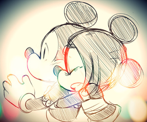 couple, heart, and minie mouse image