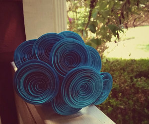 paper flower bouquet, teal paper flowers, and teal wedding flowers image