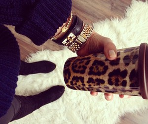 animal print, cofee, and girl image