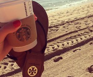 summer, starbucks, and beach image