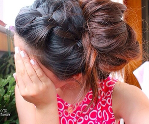 braid, hair style, and pink image