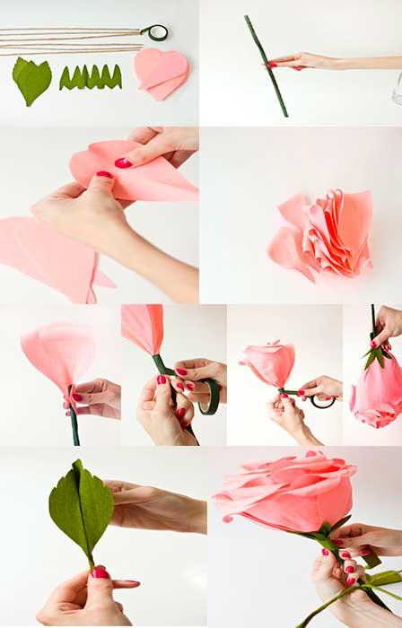 Como Hacer Rosas Gigantes De Papel Crepe On We Heart It
