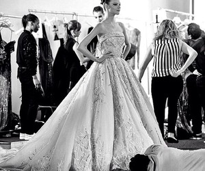 backstage, black and white, and Couture image