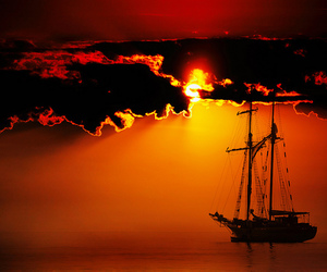 ship and sunset image