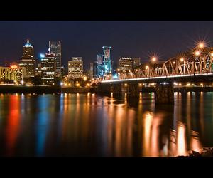 bridge, city, and city lights image
