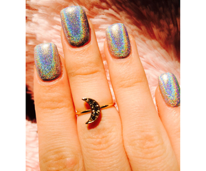 holographic, nails, and rainbow image