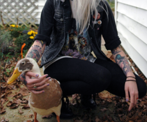 tattoo, duck, and girl image