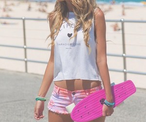 girl, summer, and pink image