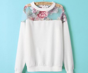 sweater, white, and flowers image