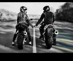 couple, motorcycle, and motors image