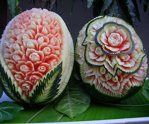 watermelon, art, and flowers image