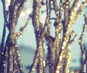 glitter, gold, and branches image