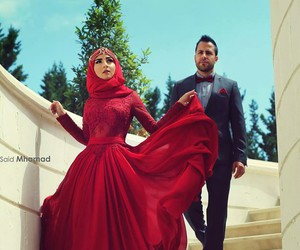 red, fashion, and hijab image