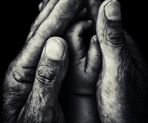artistic, black and white, and hands image