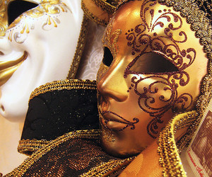 gold, mask, and sparkle image