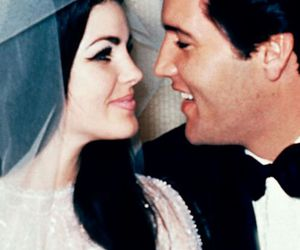 Elvis Presley, priscilla presley, and wedding image