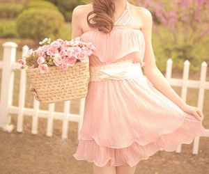pink, dress, and flowers image