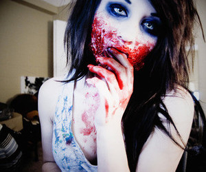girl, blood, and zombie image