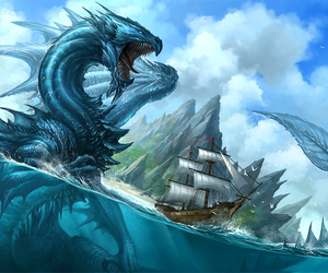 dragon, blue, and ship image