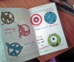 captain america, wreck this journal, and mockingjay image