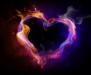 feu, heart, and flammes image