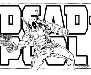 coloring, deadpool, and Marvel image