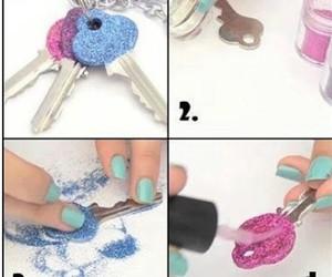 diy, key, and glitter image