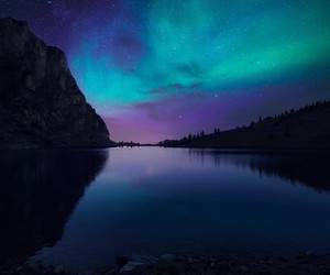 aurora, sky, and lake image