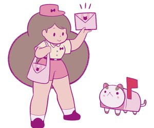 illustration and bee and puppycat image