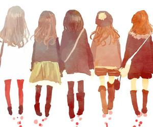 girl, friends, and anime image