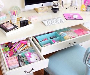 desk, stickers, and tape image