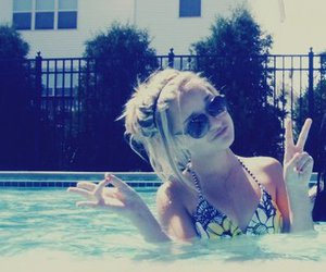 blond, pool, and blonde image