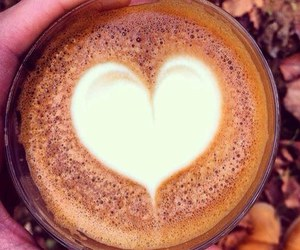 coffee, heart, and leaves image