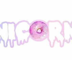 donuts, unicorn, and overlays image