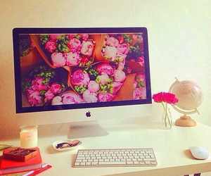 apple, computer, and flowers image