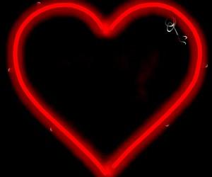 heart, neon heart, and hearts image