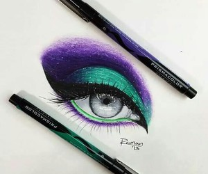eye, drawing, and makeup image