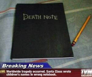 death note, lol, and santa claus image