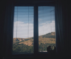 mountains, sky, and window image