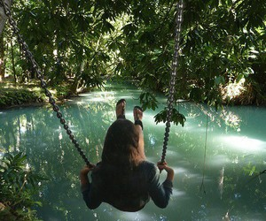 girl, swing, and great image