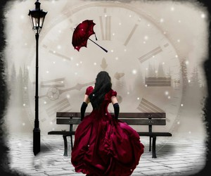 red, clock, and time image